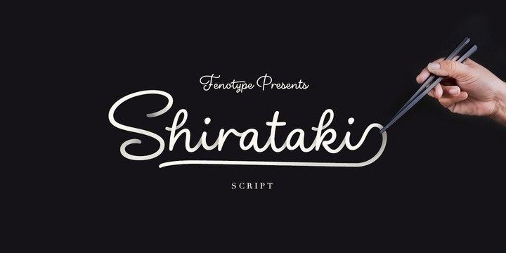 Shirataki手写连笔时尚线条文化衫英文字体下载
