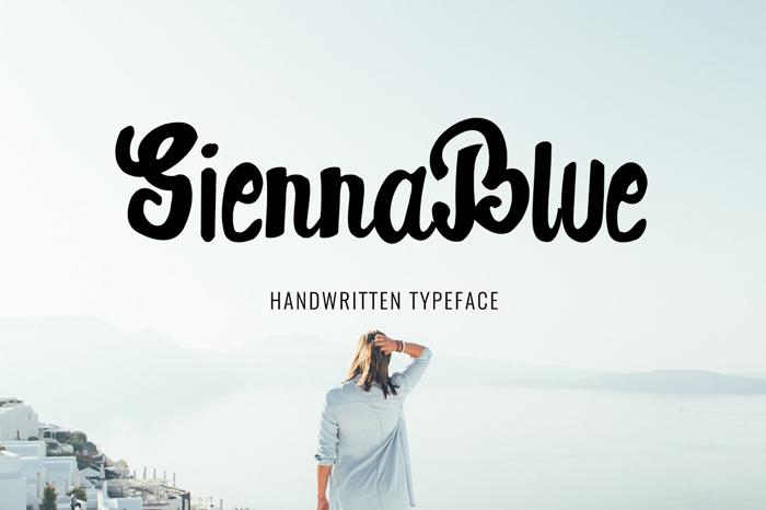 SiennaBlue手写个性海报英文字体下载