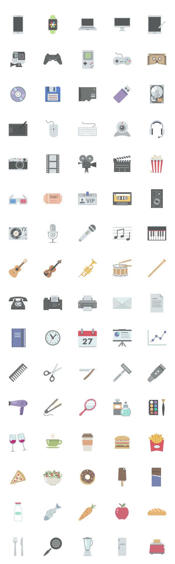 flat icon图标生活用品数码产品科技源文件下载