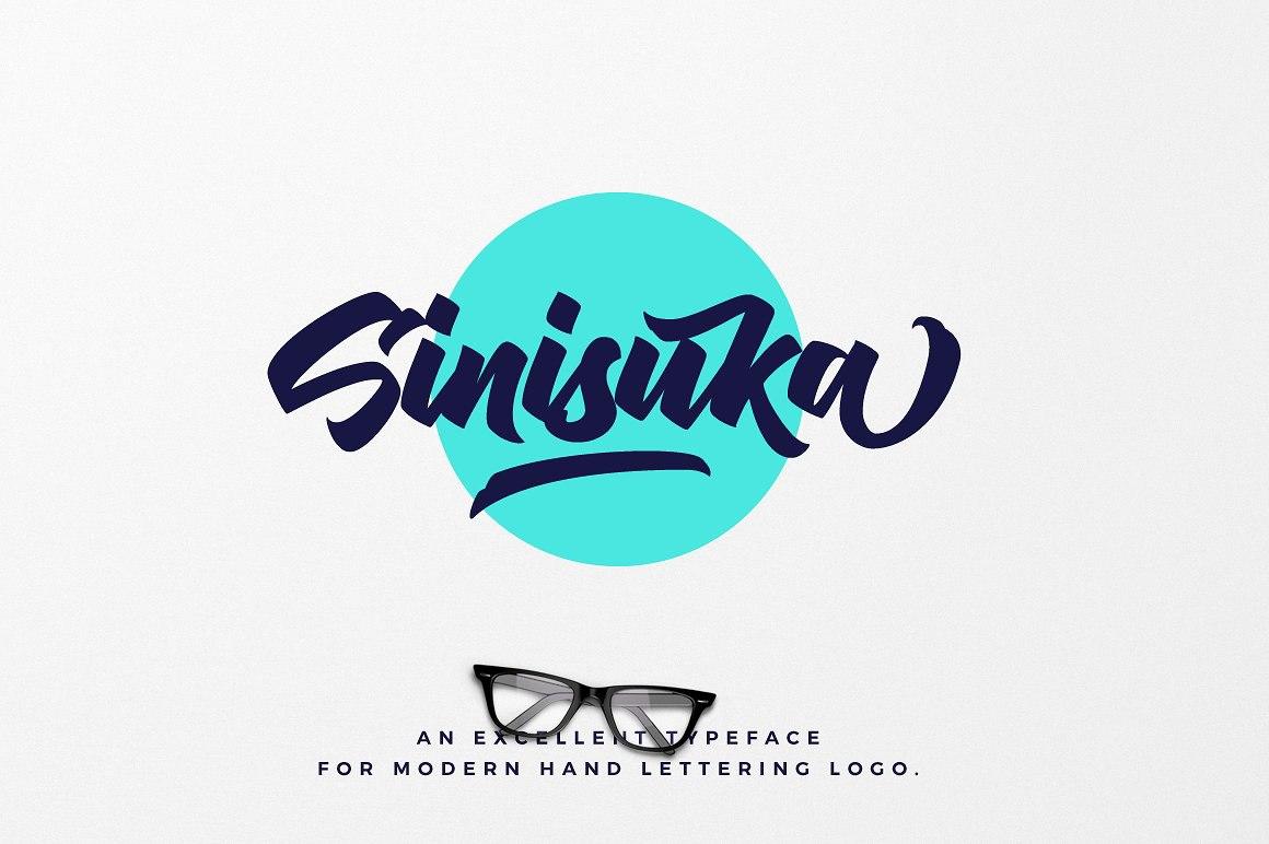 Sinisuka创意手写粗狂logo海报英文字体下载