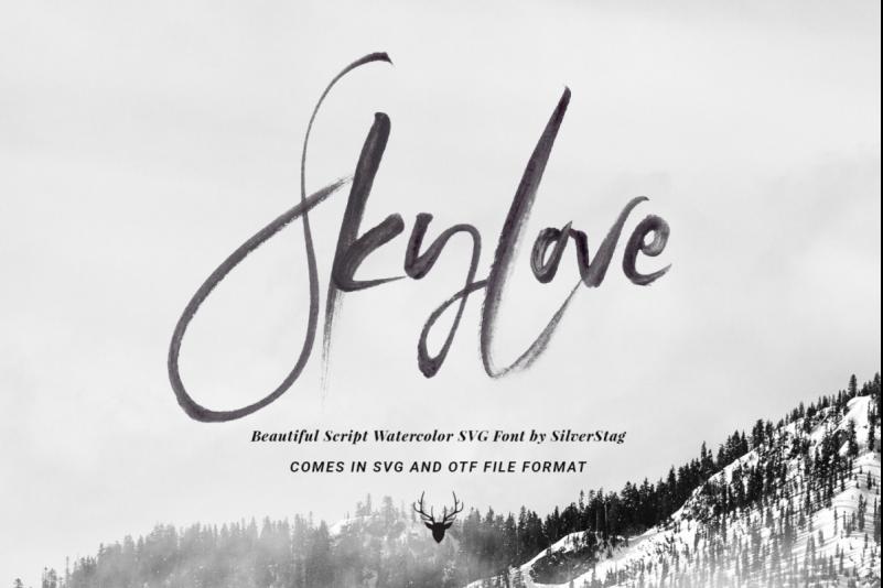 Sky LoveSky Love书法笔触水彩svg英文字体下载