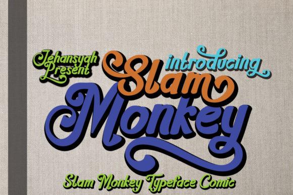 Slam_Monkey卡通手写花式英文字体下载