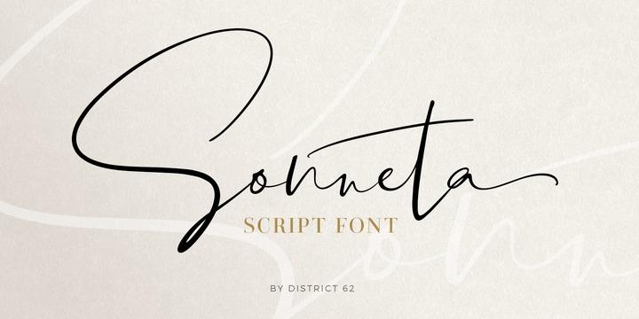 Sonneta手写飘逸连笔手绘签名艺术英文字体下载