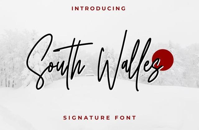 South Walles涂鸦手写连笔纤细英文字体下载