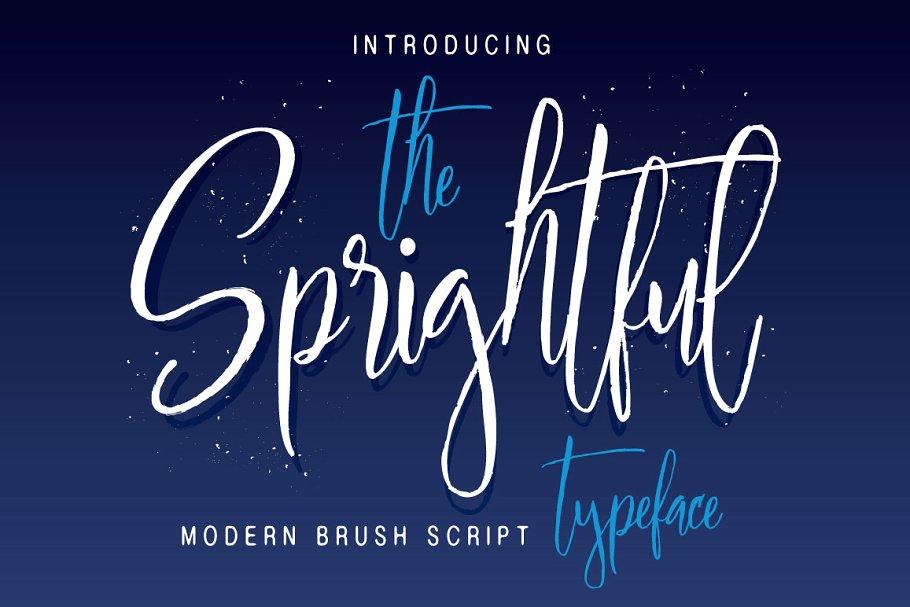 Sprightful 手写现代笔触手绘连笔艺术英文字体下载