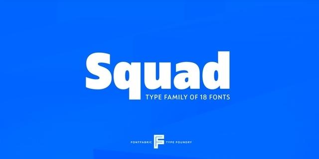 Squad无衬线现代logo英文字体下载