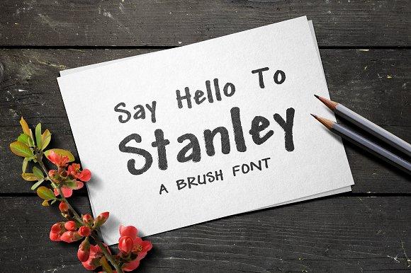 Stanley创意卡片书法印刷类手写英文字体下载