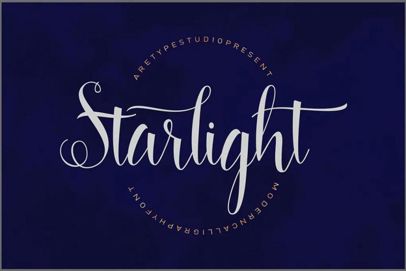 Starlight Script婚纱海报手写logo连笔英文字体下载