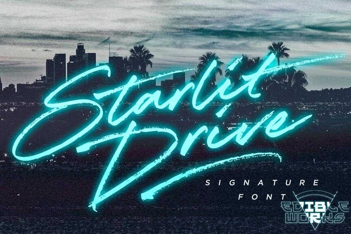 StarlitDrive大气连笔手写英文字体下载