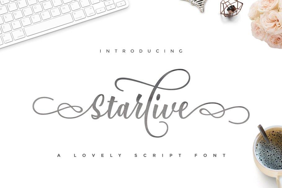 Starlive连笔花体婚礼英文字体下载