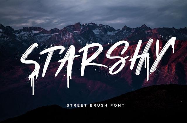 Starshy喷溅书法纹理手写英文字体下载