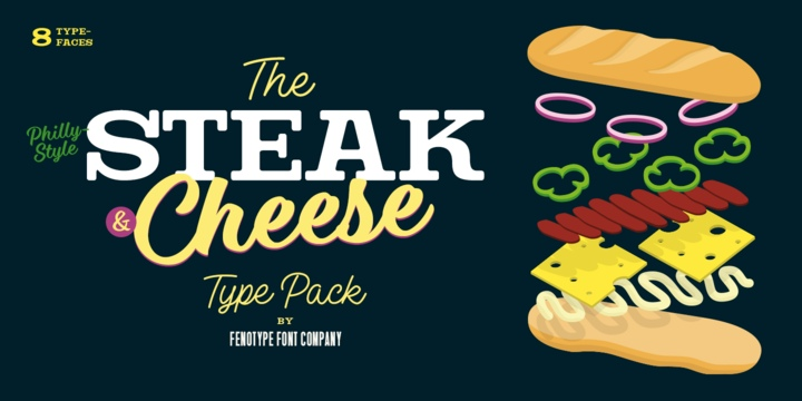 SteakAndCheeseBrush等宽衬线手写餐饮菜单英文字体下载