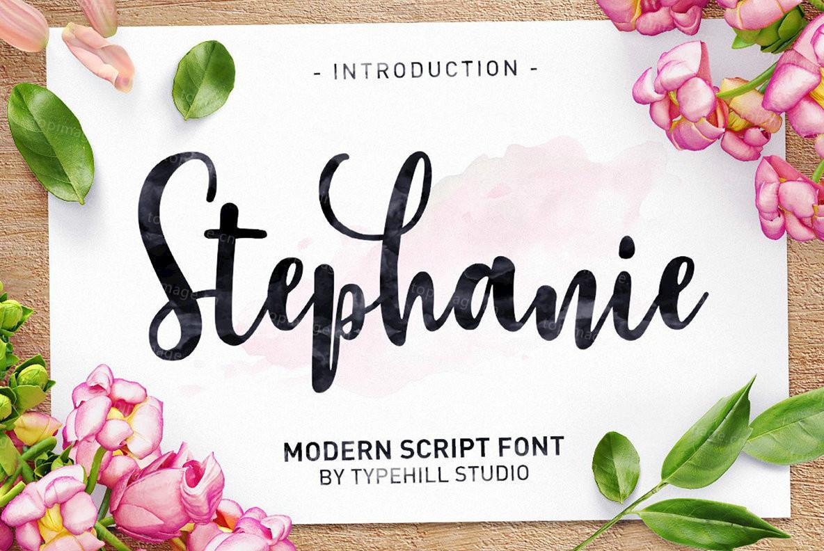 Stephanie手写手绘笔刷笔触艺术连笔婚礼英文字体下载