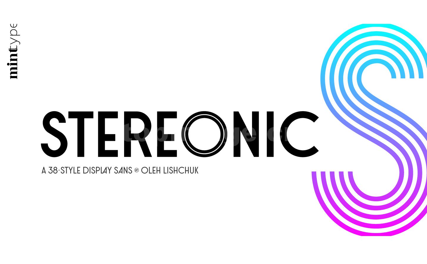 Stereonic时尚简约个性化海报质感logo设计英文字体