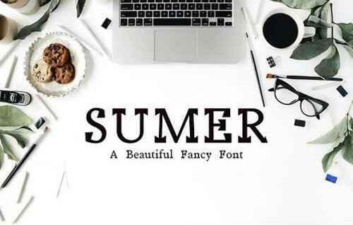 Sumer个性衬线英文创意logo设计英文字体下载
