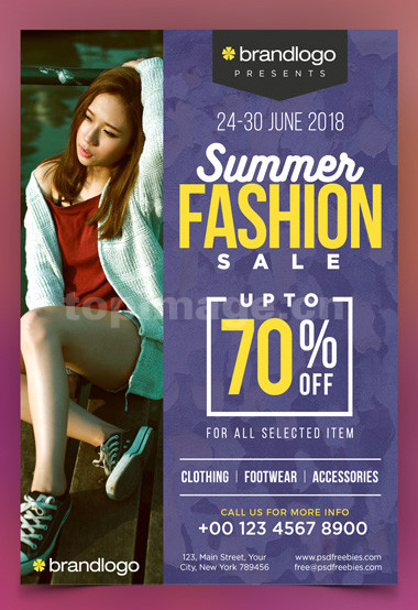 夏季服装促销女装宣传单页海报下载psd源文件