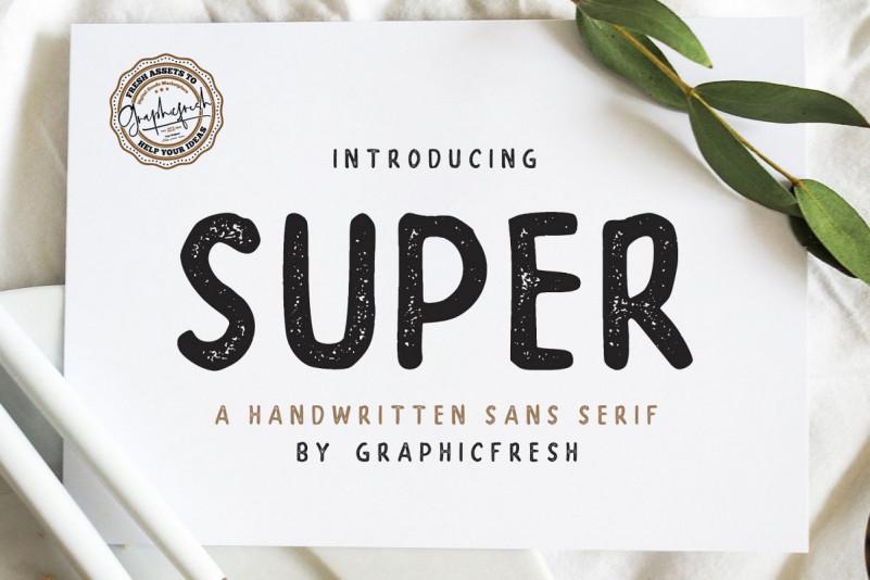 Super手写复古包装英文字体下载