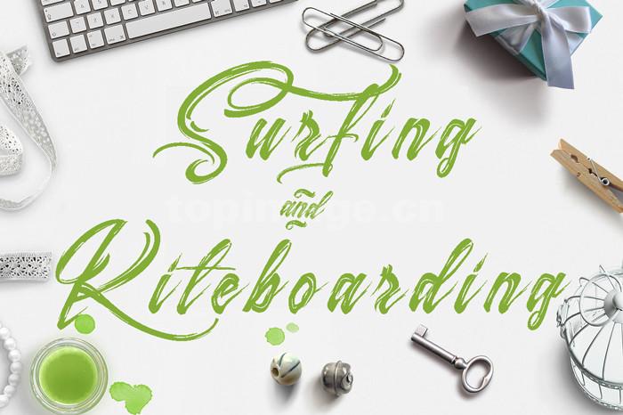 Surfing手写优美艺术好看的英文连笔书法艺术字体下载