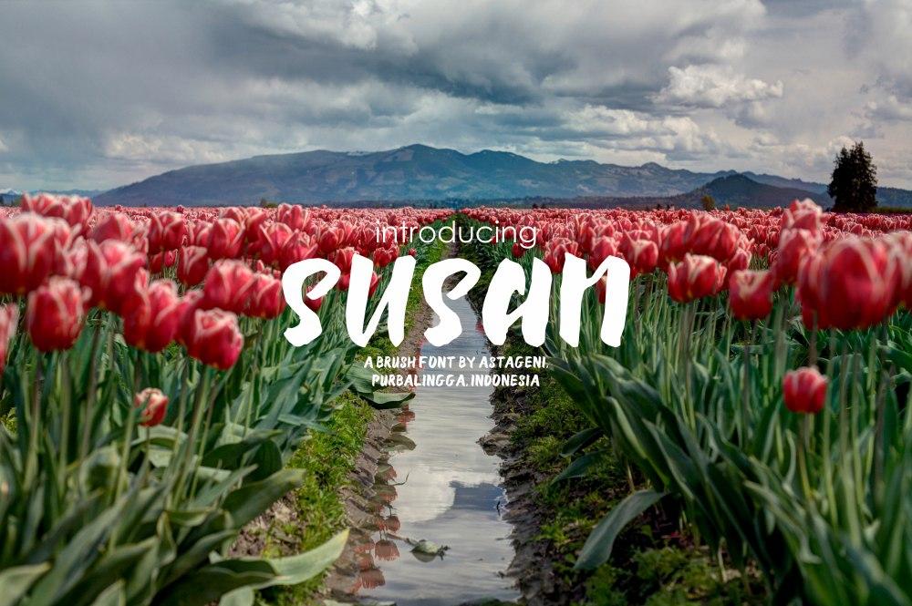 Susan摄影海报手写个性粗英文字体下载