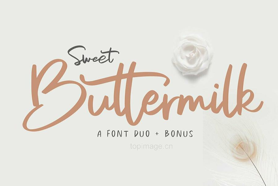 SweetButtermilk手写笔刷个性时尚英文字体下载