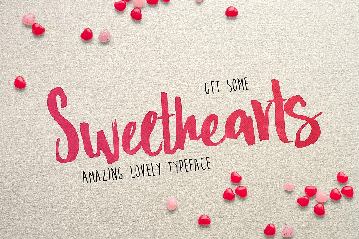 Sweethearts手写涂鸦个性海报英文字体下载