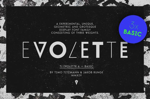 TJEvoletteABasic创意元素个性海报现代英文字体下载