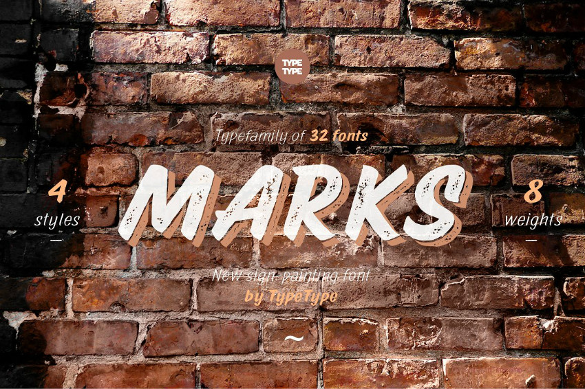 TTMarks手写破损纹理英文字体下载