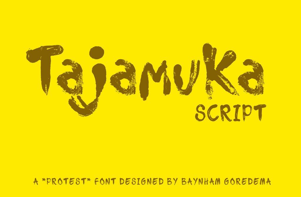 Tajamuka书法笔触毛笔粗狂英文字体下载