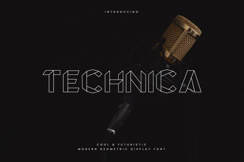 Technica个性线条科技logo英文字体下载