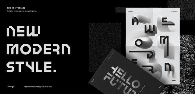 Technol现代创意设计平面logo英文字体下载