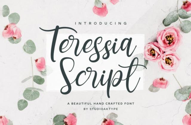 Teressia婚礼手写连笔英文字体下载