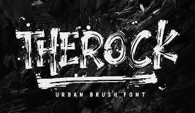 TheRock个性破损肌理手写笔刷涂鸦英文字体