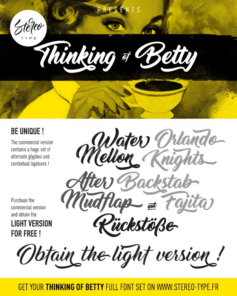 Thinking_of_Betty手写手绘书法好看连笔英文字体下载