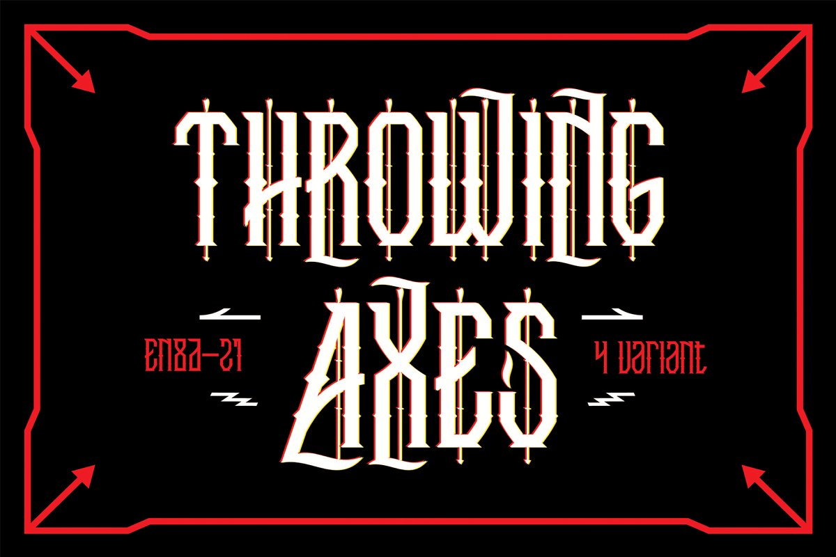 Throwing Axes哥特个性纹身英文字体下载