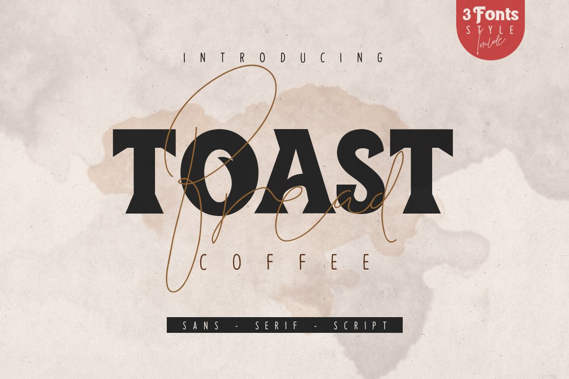 ToastBreadCoffee衬线手写线条连笔英文字体下载