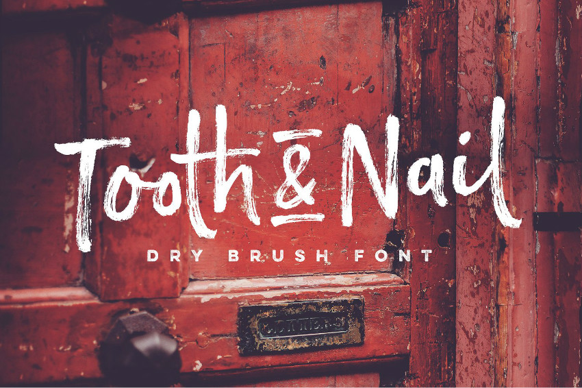 Tooth_and_Nail 笔触书法纹理干笔刷英文字体下载