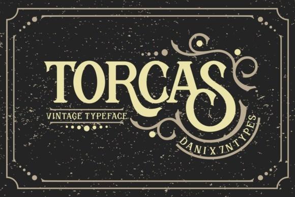 Torcas哥特花式纹身包装logo设计英文字体下载