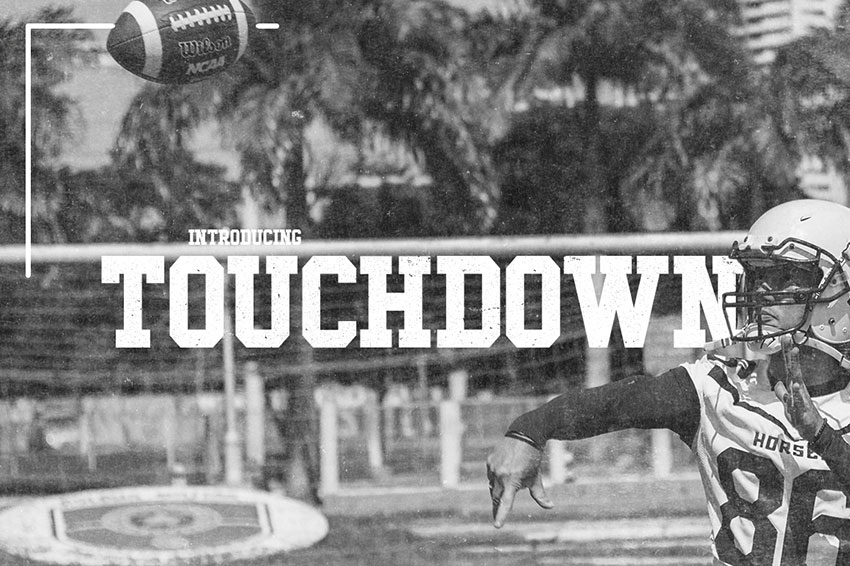 Touchdown现代等宽橄榄球服运动力量英文字体下载
