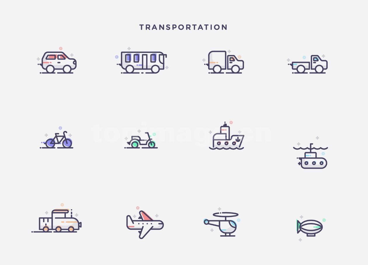 交通工具 icon 飞机 热气球 直升机 轮船  摩托车 自行车 火车 越野车 汽车 mbe风格图标下载