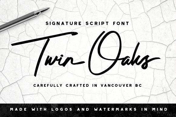 TwinOaks手写签名笔刷手绘英文字体下载