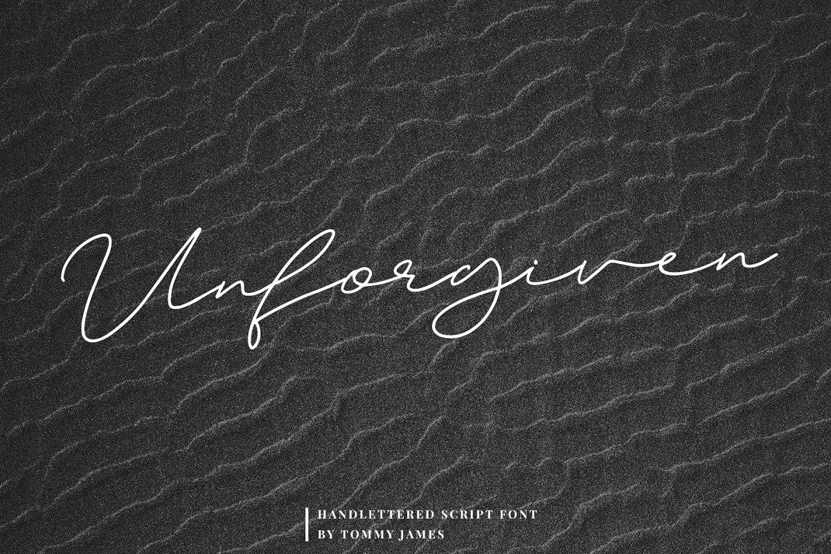 Unforgiven连笔手写签名艺术英文字体下载