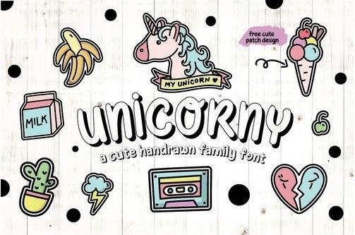 Unicorny手写卡通可爱英文字体下载