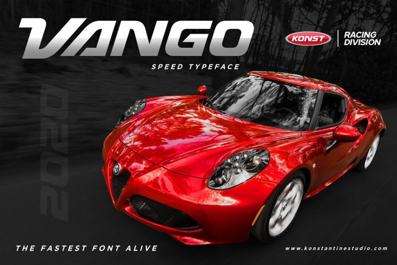 VANGO赛车工业机械风创意logo设计英文字体下载