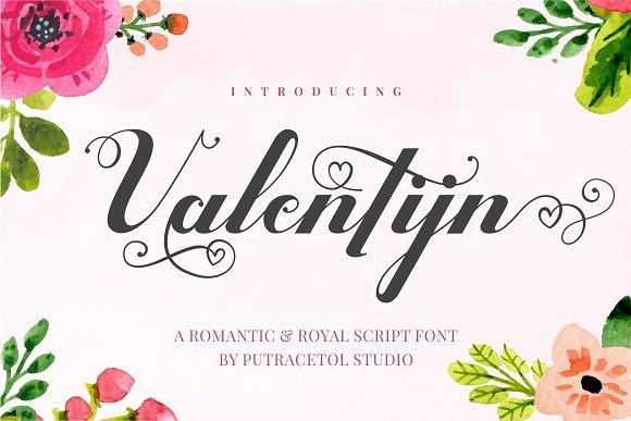 Valentijn手写连笔爱心花体英文下载