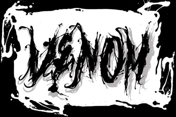 Venom毒液个性液体喷溅墨水游戏纹身英文字体下载