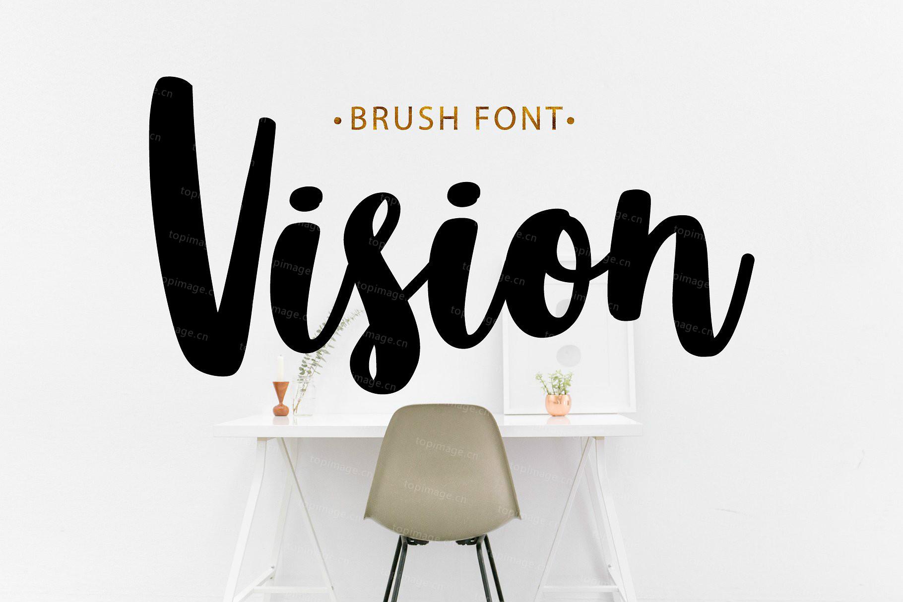 Vision手写笔刷唯美英文字体转换下载
