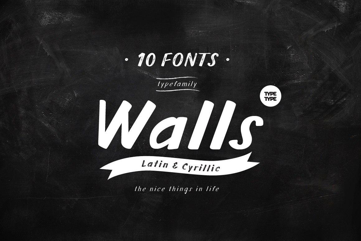 Walls自然手写手绘涂鸦英文字体下载