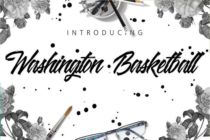 WashingtonBasketball个性创意海报书法笔触英文字体下载