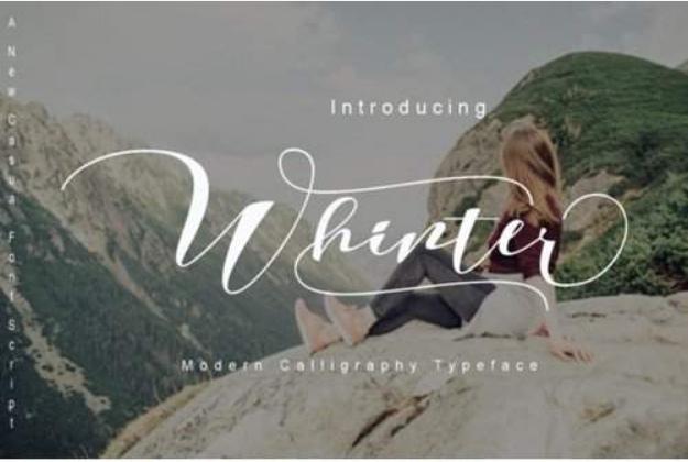 Whinter花体连笔婚礼手写英文字体下载