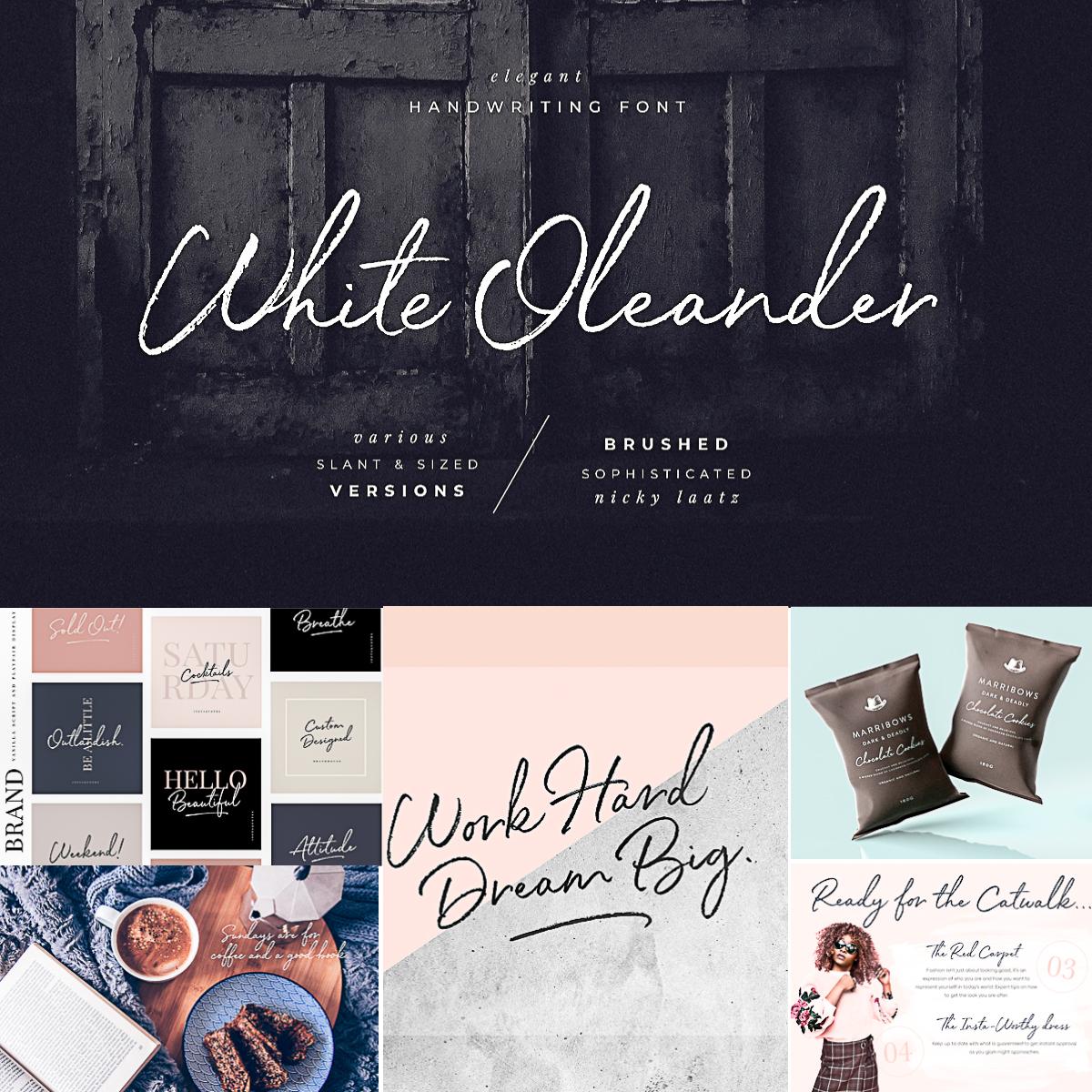 White Oleander手写笔触纹理签名英文字体下载